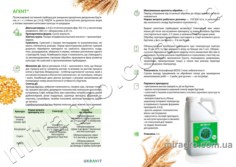 Описание гербицида Агент